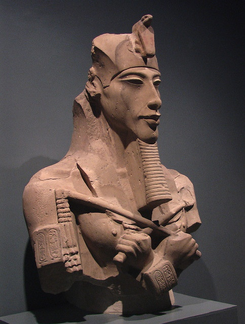 Egypt, Achanaten, the Pharoh who believed in mono-theism, His Queen (second wife) was Nefertiti.  His son was Tutankhamen, but named at birth as Tutanakaten, son of the Aten- Sun God