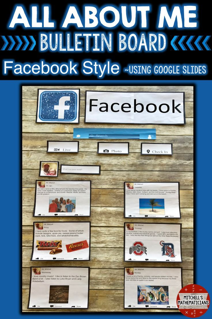 Check out this fun way to create a bulletin board using social media. This digital, All About Me Facebook bulletin board, is editable for your students through Google slides. There are 10 different post options for your students to choose from. They will edit the slides and then print off the pages for you to display on your bulletin board.
