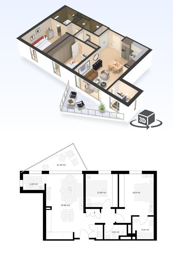 2 Bedroom Apartment Floor Plan In Interactive 3d Get Your Own 3d Model Today At H Condo Floor Plans Small Apartment Floor Plans Penthouse Apartment Floor Plan