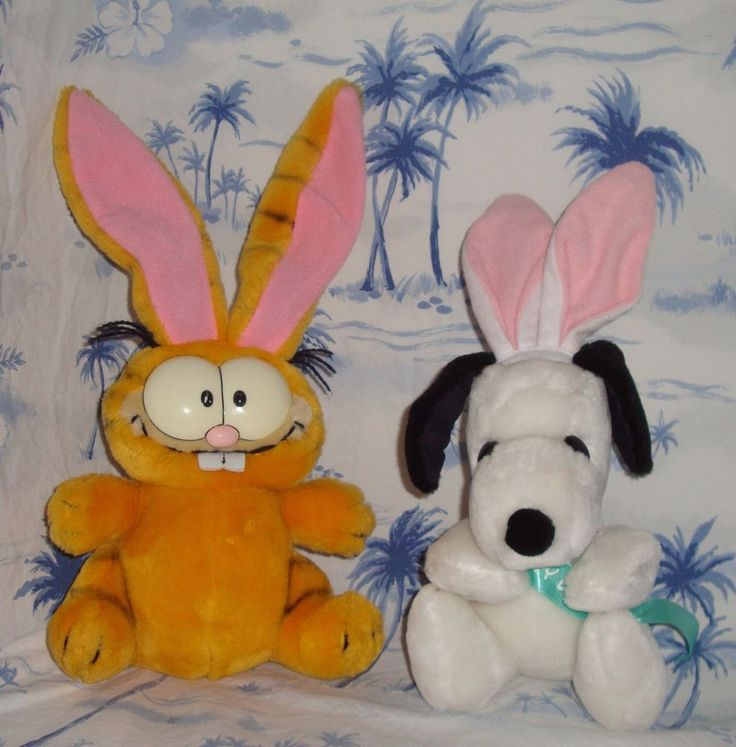 Vintage Stuffed Animal Easter Lot of 2 Snoopy Easter Beagle & Garfield Plush