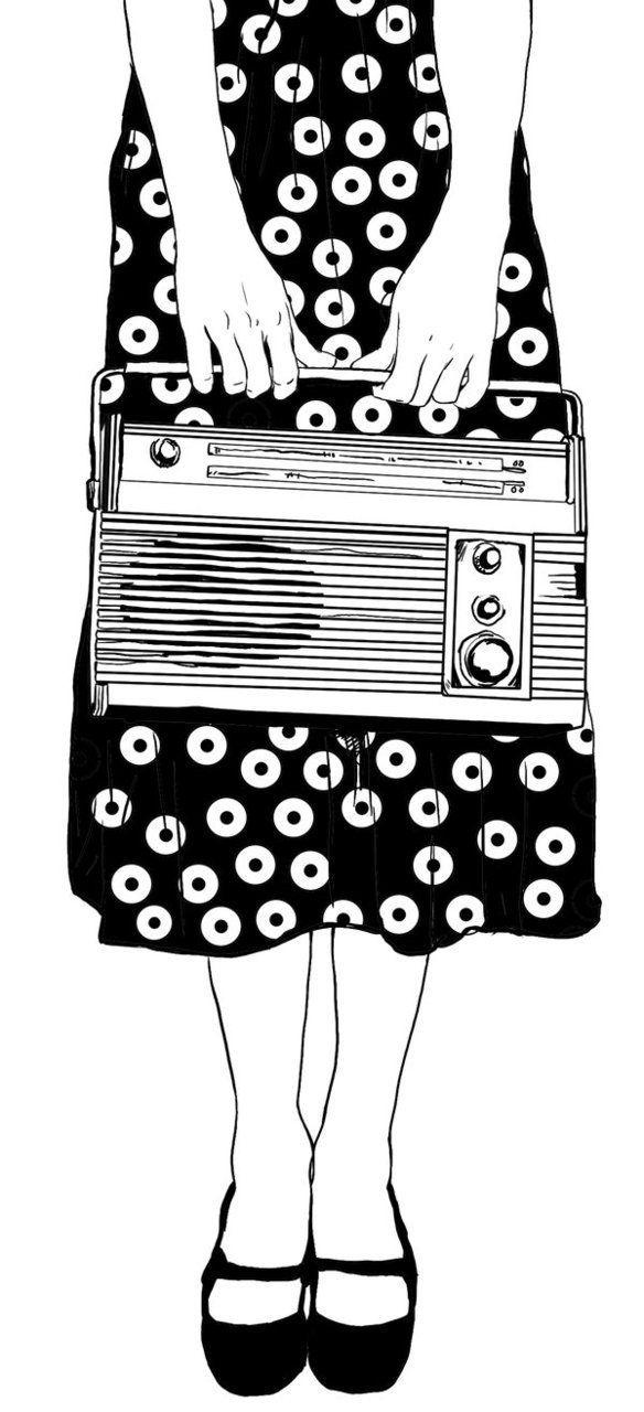 Girl in dress holding jambox << black and white illustration