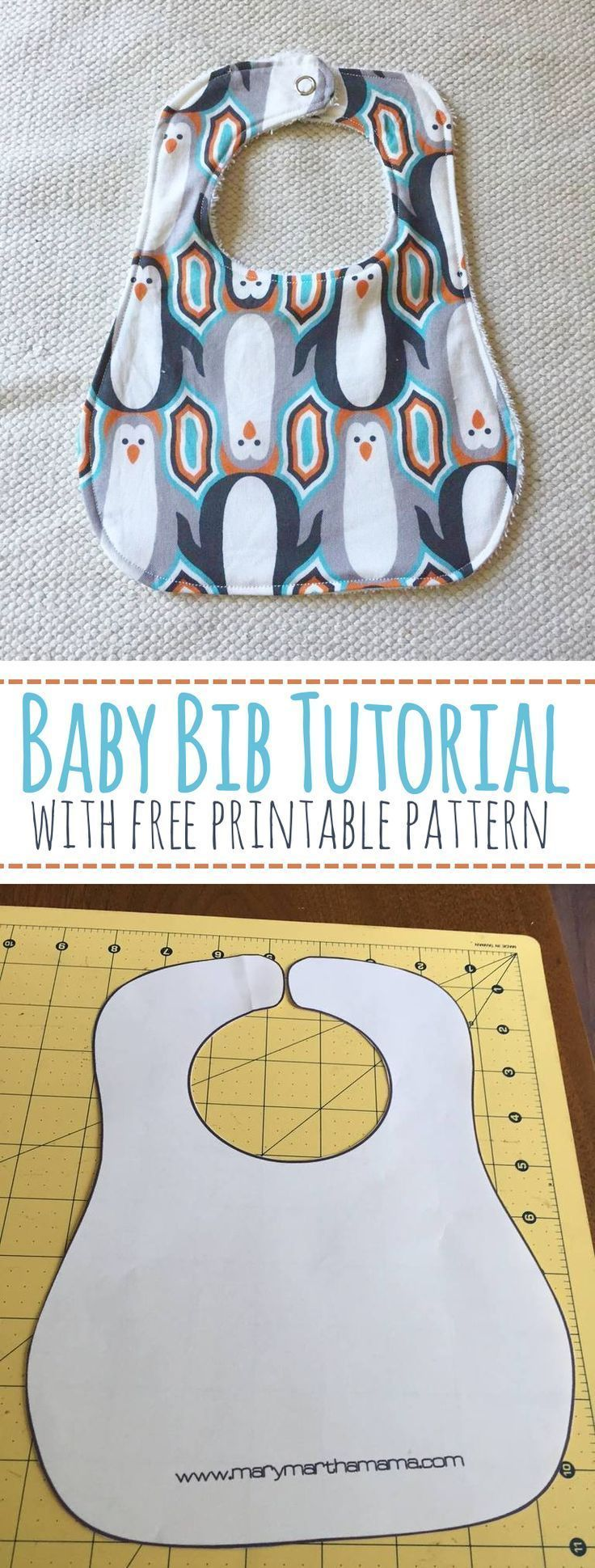 Baby Bib Tutorial with Free Printable Pattern – Mary Martha Mama- How to make a baby bib #sewing_crafts_clothes