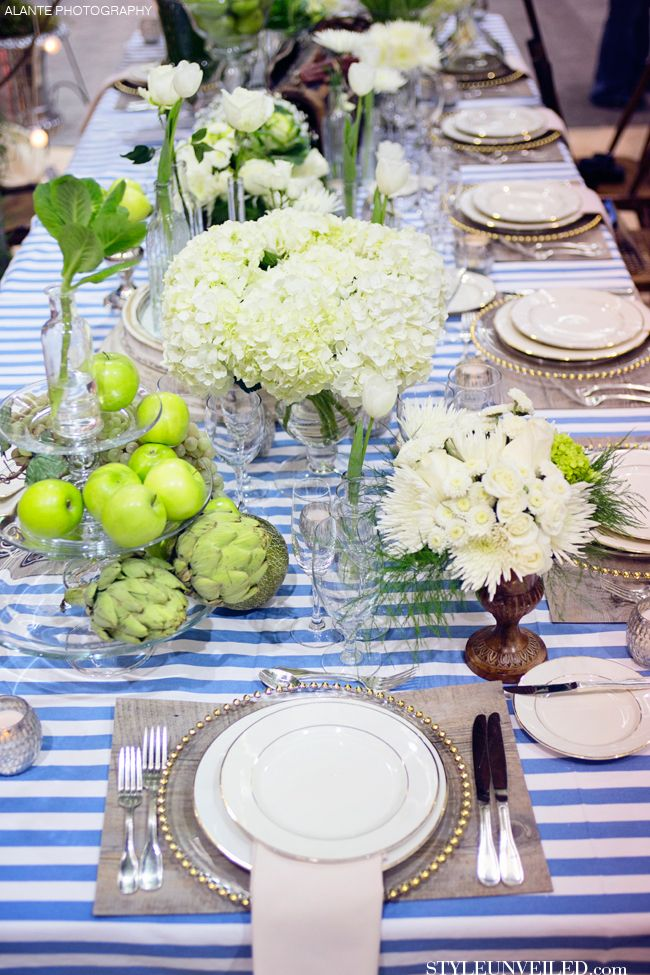 royal blue and silver wedding centerpieces%0A Blue and White Striped Wedding Tablescape Idea Blue and white   silver  wedding decor