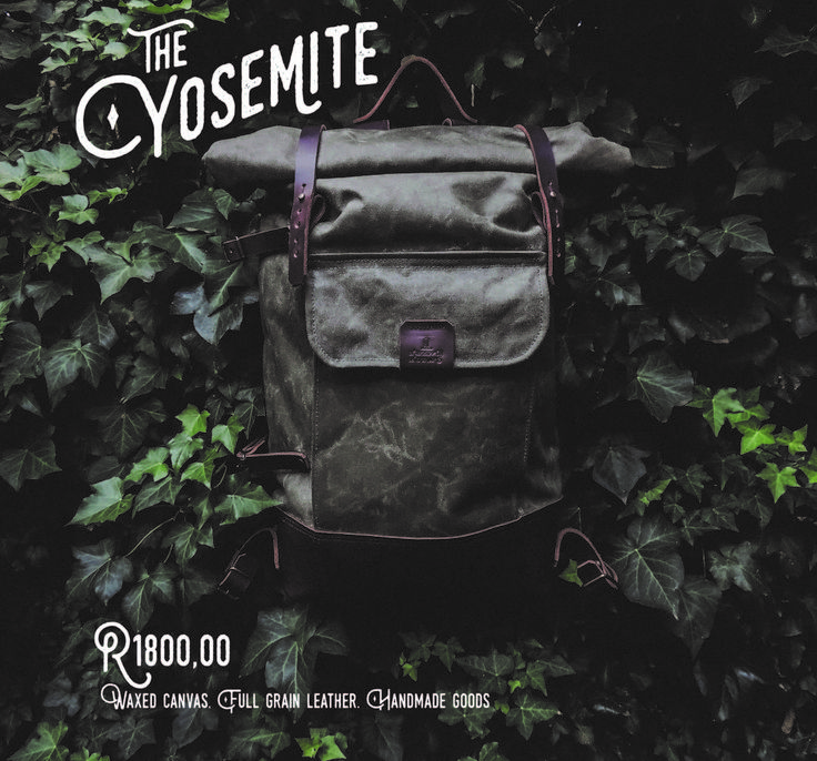 The Yosemite. Waxed canvas exterior and full grain leather base, straps and adjustable blanket holder. Inspired by military rucksacks of the 1940's. (Available in Olive Green and Navy Blue)