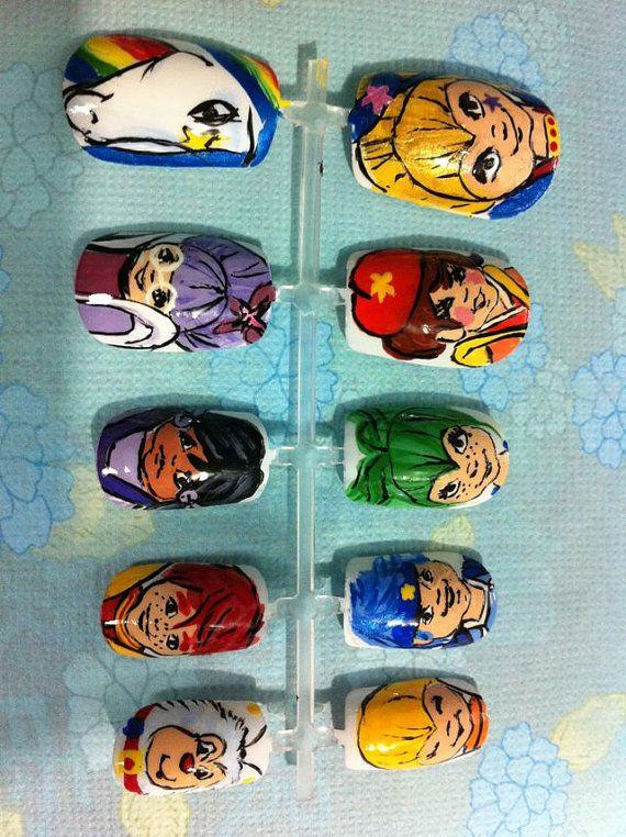 Rainbow Brite Hand Painted Acrylic Nail Set. I really want these :(