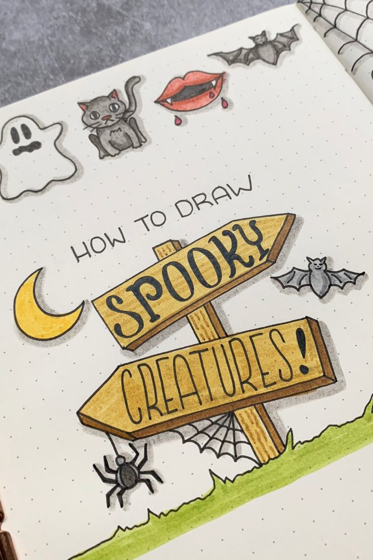 Bullet Journal Doodles Spooky Halloween Creatures in 2020