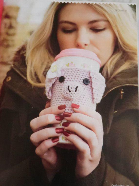 Piggy coffee cup warmer pdf crochet pattern pig