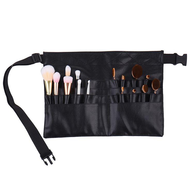 New Black Two Arrays Makeup Brush Holder Protable Make Up Bag Cosmetic Brush Bag Professional PVC Apron Bag Artist Belt Strap #Affiliate