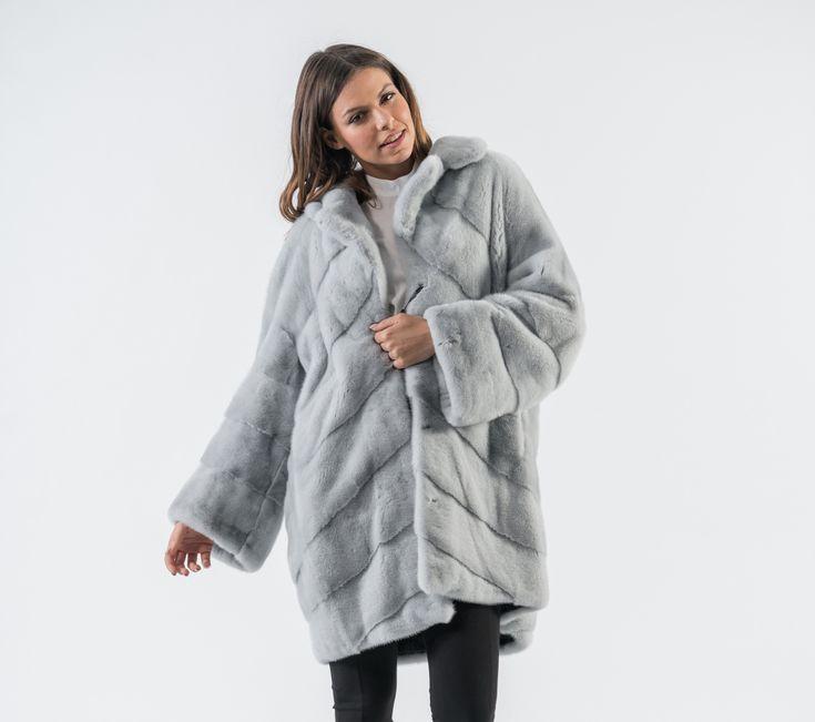 Smoke Grey Luxury Mink Fur Coat – 100% Real Fur Coats
