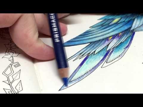 ASMR Adult Coloring Enchanted Forest Blue Bird 11 Blended Pencil Prismacolor Premier
