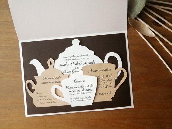 Wedding Invitations Set, Tea Time, Tea Pot, Tea Set, Cutout, Scrapbook, Papercut by Mama Tita