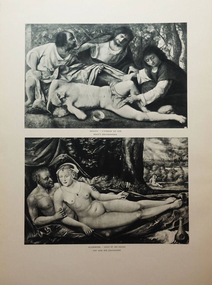 Antique, Black and White, Biblical Fine Art, Noah's Drunkenness, Lot's Daughters, Original Verve Art,  1930s Fine Art Collectible by FunFloridaVintage on Etsy