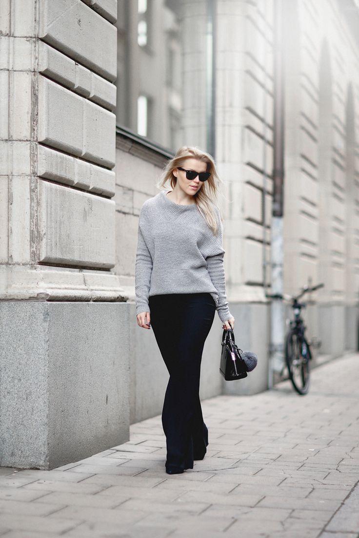 knit / Gina Tricot  pants / Andiata  sunglasses / Ray Ban bag / Louis Vuitton fluff ball / Andiata