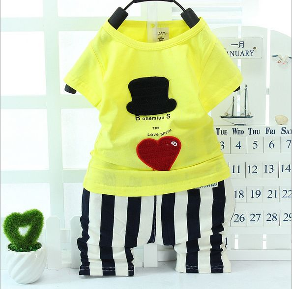 Free shipping fashion the new 2014   cartoon baby with short sleeves two-piece set of han edition cotton $10.99