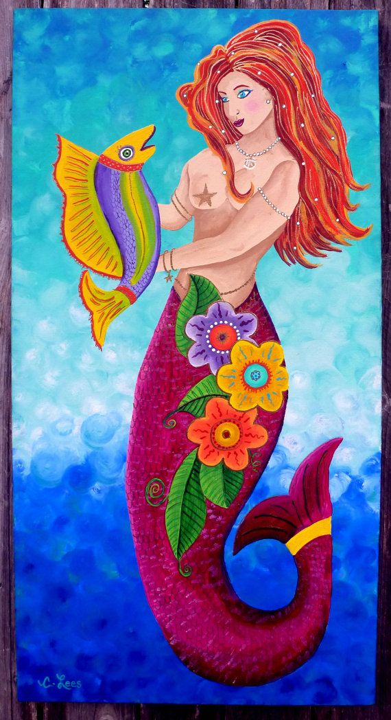 Whimsical Folk Art Mermaid with Fish  on by GulfportArtist on Etsy, $188.00