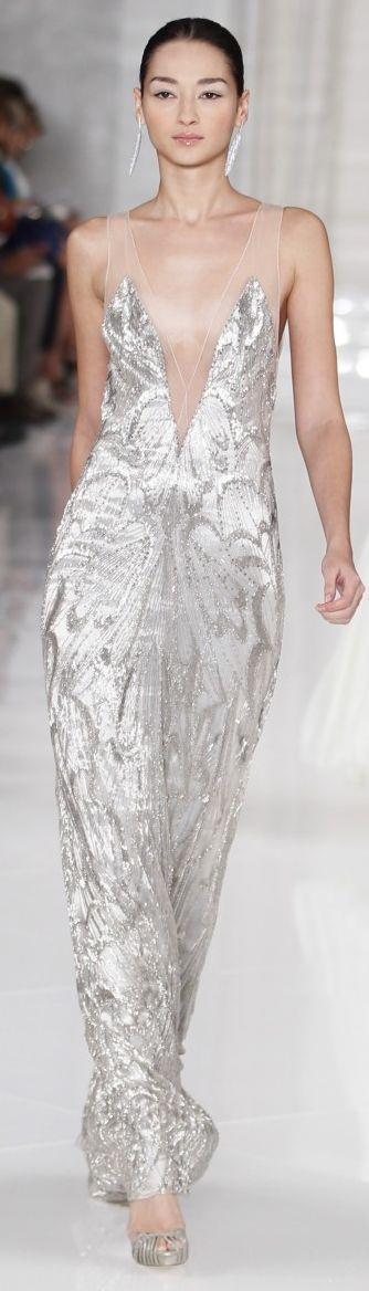 Ralph Lauren Spring 2012 silver and sheer sparkling sequin, beaded dress  (runway couture gown)