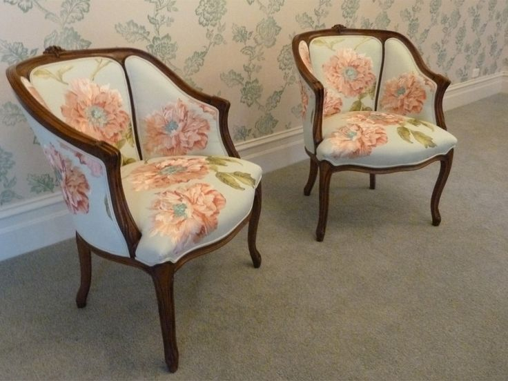French Louis XV Style Tub Chairs Custom Upholstered