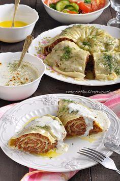 Катлама с мясным фаршем и чесночным соусом. - Вкусная пауза