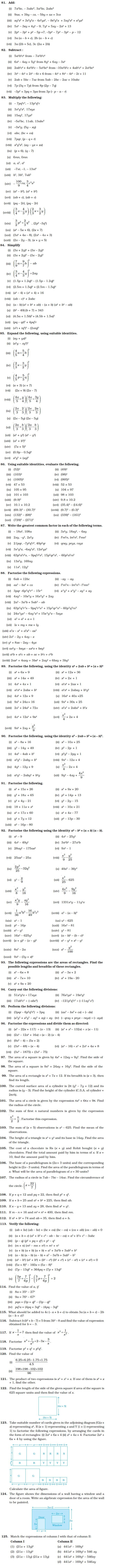 Algebraic Expressions, Identities and Factorisation