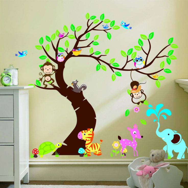 Tree And Monkey wall sticker children room background wall sticker ZYPA 1214 DIY decoration Nursery Daycare Baby Room Decor-in Wall Stickers from Home & Garden on Aliexpress.com | Alibaba Group