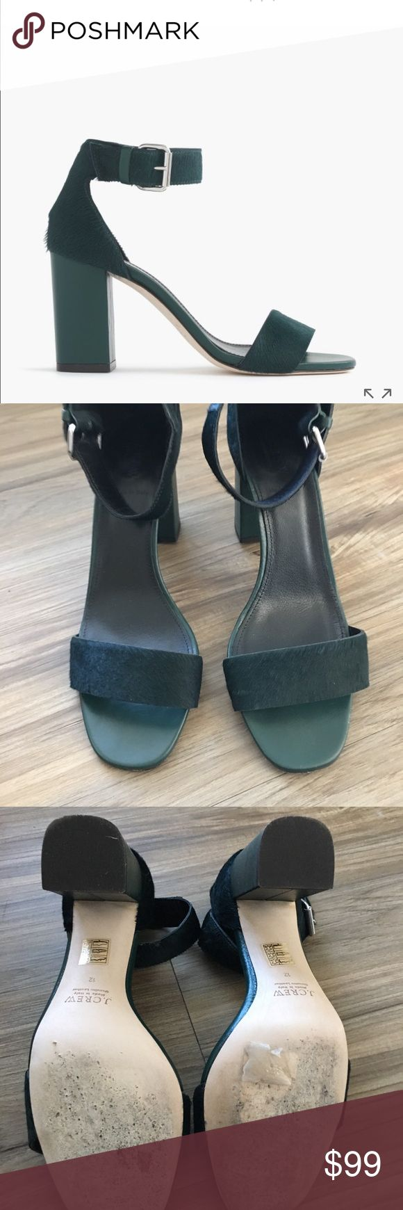"""J Crew Collection Calf Hair Strappy Sandals Sz 12 J Crew Collection Calf Hair Strappy Sandals Color is dark green size 12 Worn Once And in perfect condition. 3 1/2 """" Heel.  Calf hair upper. Leather lining and sole. Made in Italy.  Item E0130. J crew Shoes Heels"""