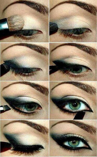 Gorgeous intense eyeliner and lighter shadow