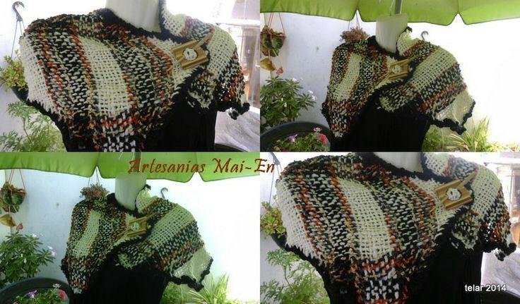 Bufanda tejida a telar,hecho de algodón flame, terminaciones hechas a crochet