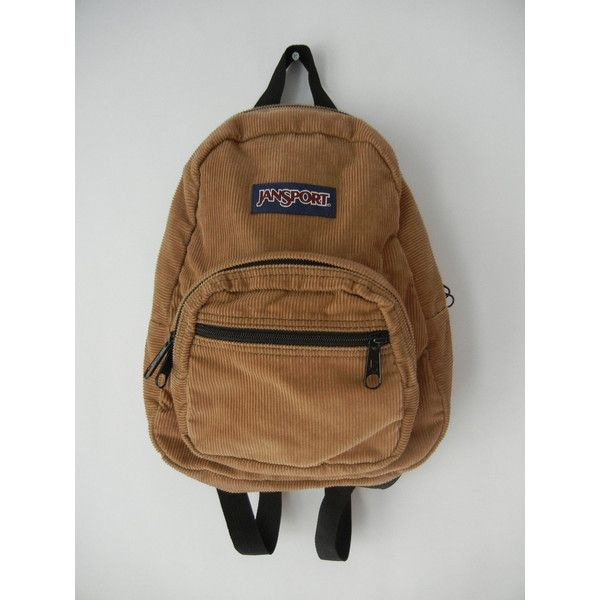 Jansport Mini Backpack, Tan, Corduroy, Hipster, 90's, Tumblr, Grunge,... (56 BRL) ❤ liked on Polyvore featuring bags, backpacks, accessories, corduroy backpack, vintage rucksack, grunge backpack, vintage bag and hipster bag