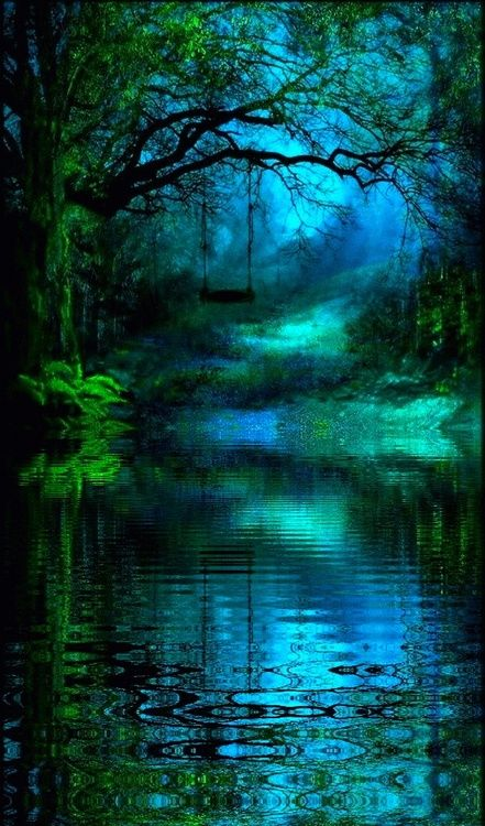 hauntingly beautiful......espectacular...... #neonblue #riverside #pond