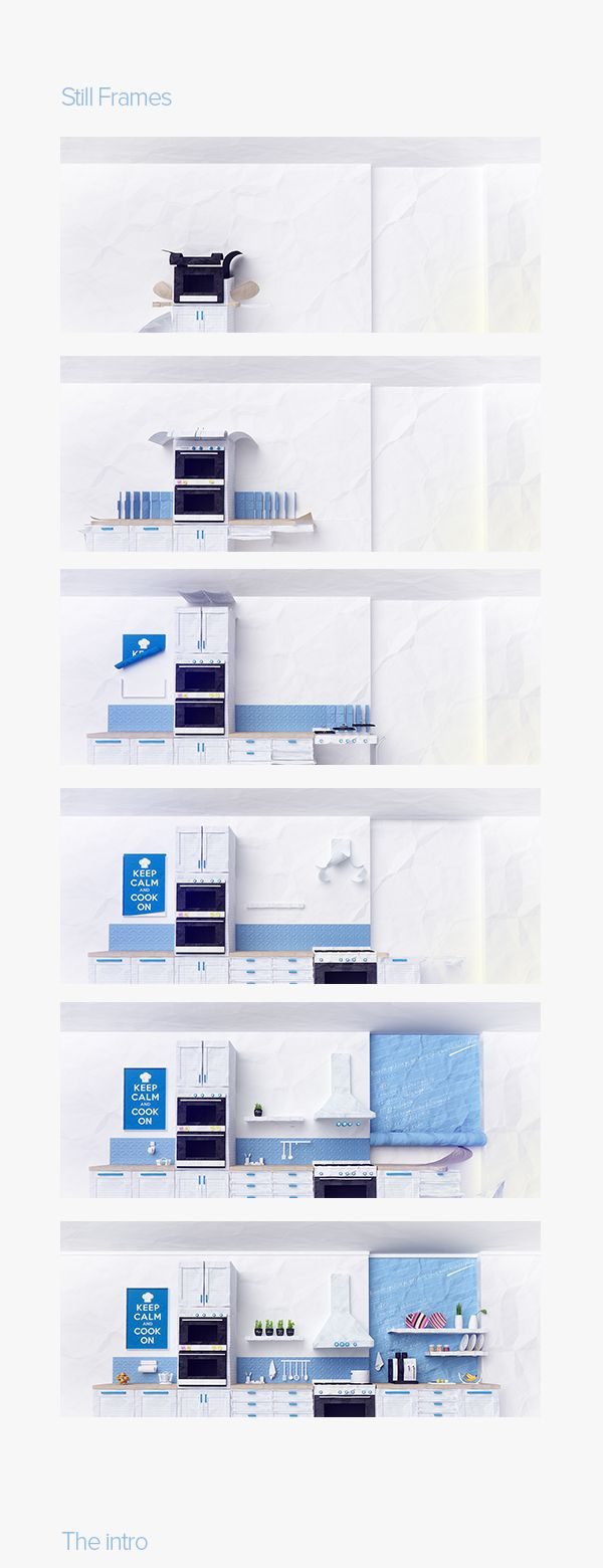 3D Paper-craft style kitchen & Intro for Philadelphia. by Mike Polizos, via Behance