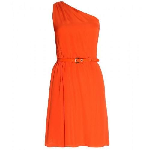 Alice + Olivia One shoulder orange silk dress with belt