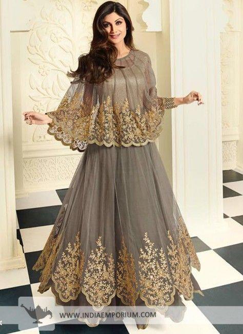 Gray Appealing Net Designer Anarkali Suit #Designersuit #Anarkali #DesignerAnarkali #Suit #Indiaemporium