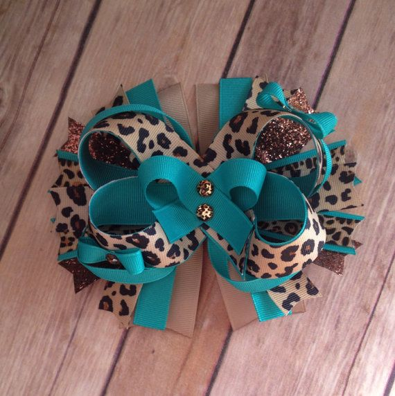 Ready to ship hair bow, turquoise and brown, tan leopard animal print, boutique on Etsy, $7.50