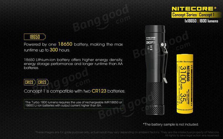Nitecore Concept 1 XHP35 HD E2 1800LM Mini EDC LED Flashlight 18650