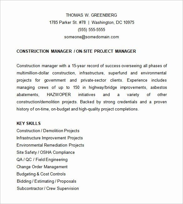 Construction Project Coordinator Resume Best Of 9 Project Manager Resume Templates Project Manager Resume Engineering Resume Templates Nursing Resume Template