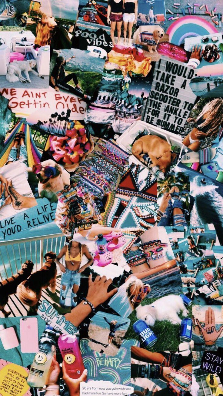 Vsco Wallpaper Teal Wallpaper Iphone Boho Collage Background Iphone Wallpaper