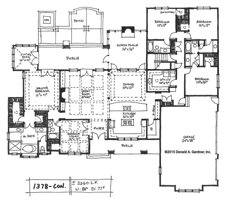 This open concept House Plan on the Drawing Board has 5 bedrooms, including a bedroom/study, and features walk-in closets, a 3-car garage, and large kitchen with serving bar -- Loving the sun tunnels lights in closets and utility rooms, add one in the pantry and a couple onto the porches, screen in both.