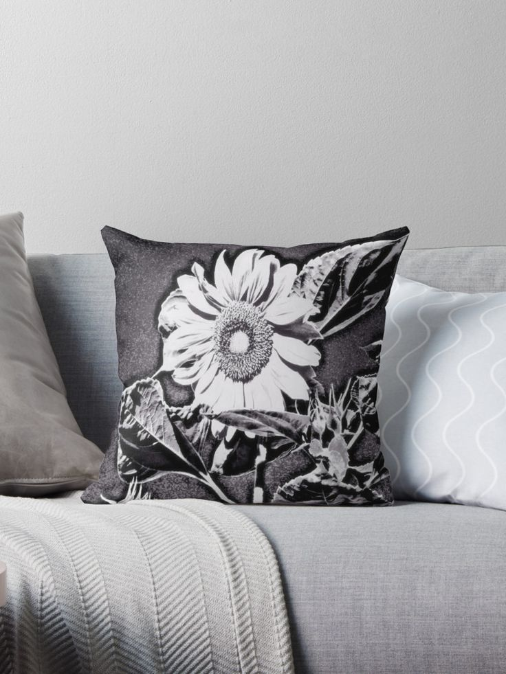 Sunflower at night Throw Pillows