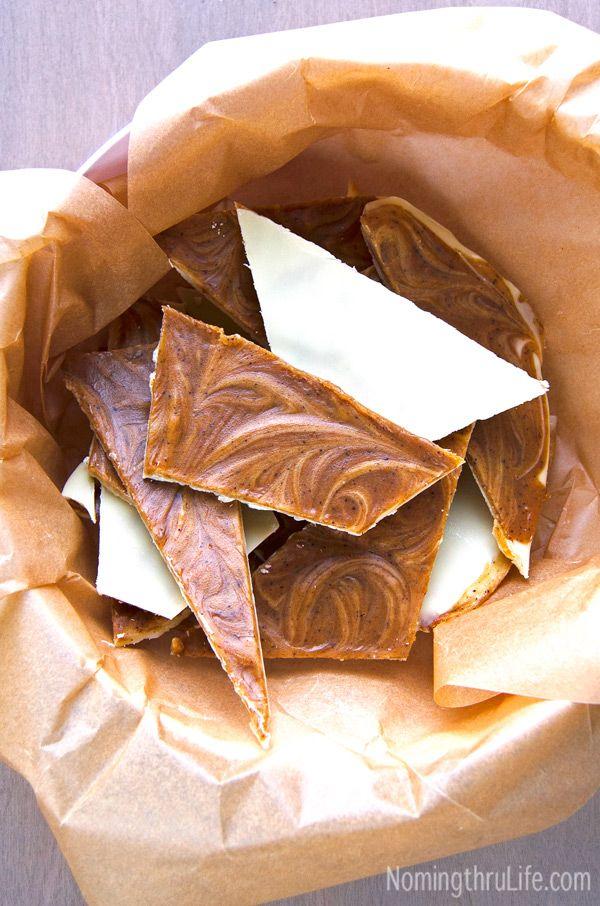 White Chocolate Pumpkin Espresso Bark - Whoa that's a lot of goodness. Recipe @ NomingthruLife.com