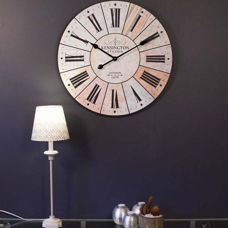 Large Modern Wall Clock COLOUR KENSINGTON 58cm Round French Decor Wooden  GIFT #Modern