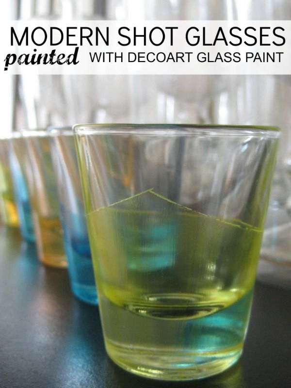 DIY: Modern Shot Glasses Painted With Decoart Glass Paint