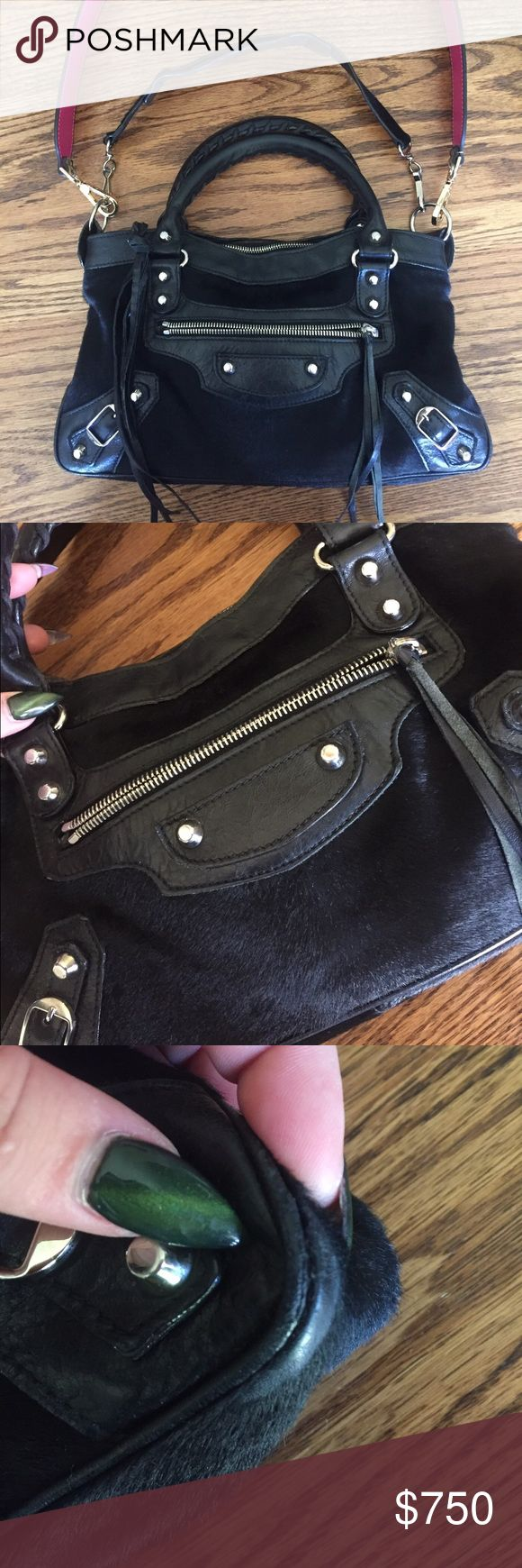 Black pony hair Balenciaga town bag Black with silver hardware. Pony hair. Edges show slight wear as seen in pictures. Authentic. Comes with mirror and its strap. I just don't use it as much as I thought I would. Balenciaga Bags Shoulder Bags