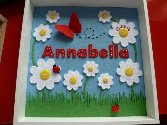 Personalised Handmade Felt Daisy Picture, Christening gift, Personalised Felt Box frame, Personalized Nursery Decor