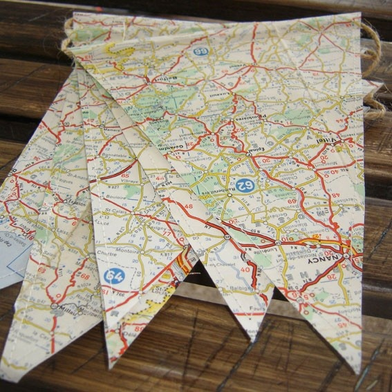 map bunting. Great for birthdays and no hemming!!