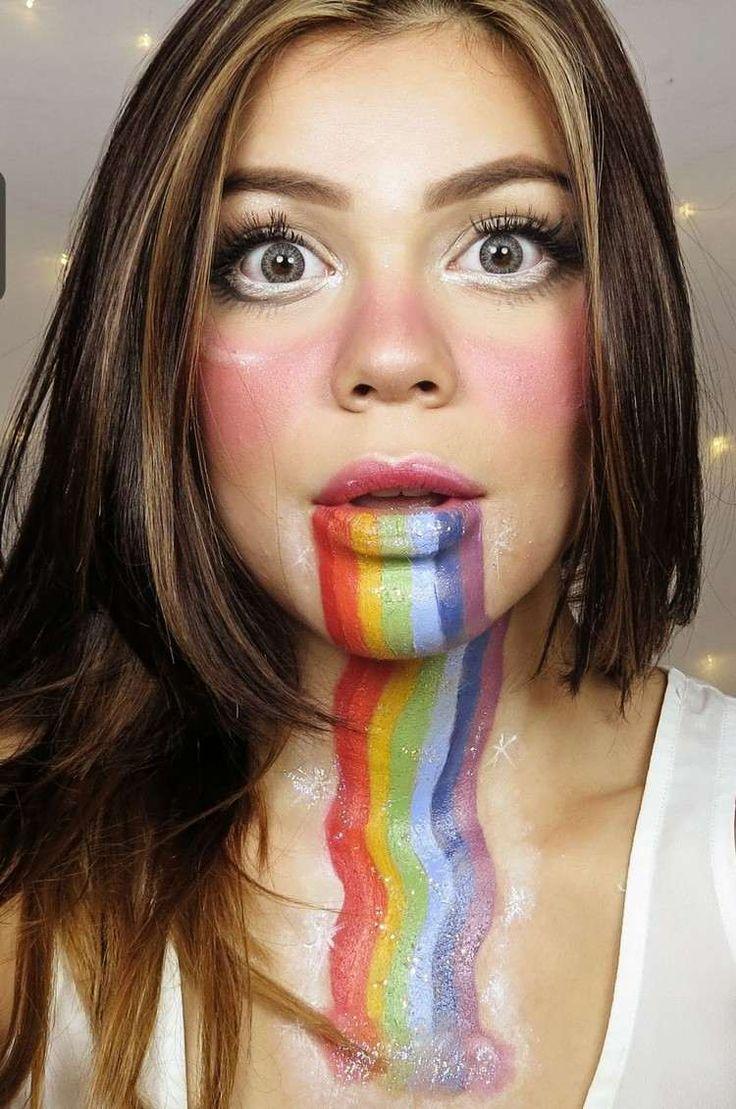 maquillage Halloween femme 2016 - Rainbow Snapchat avec fard à paupière coloré