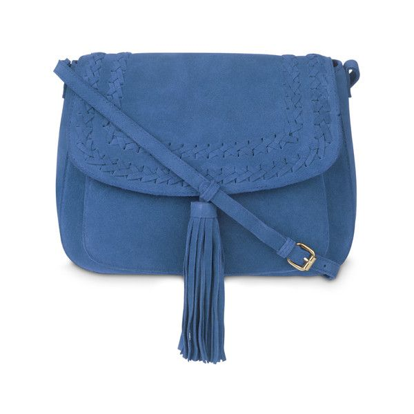 Blue Plait Detail Tassel Suede Cross Body Bag (£45) ❤ liked on Polyvore featuring bags, handbags, shoulder bags, blue crossbody, blue suede purse, crossbody shoulder bag, blue crossbody handbag and blue suede handbag