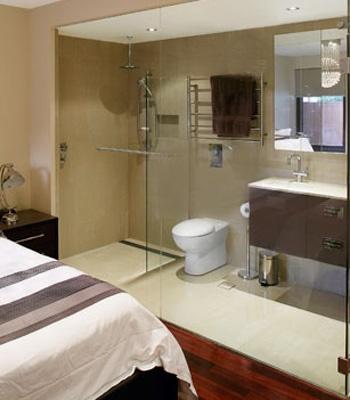 Glass wall - great idea for a small ensuite not to feel enclosed