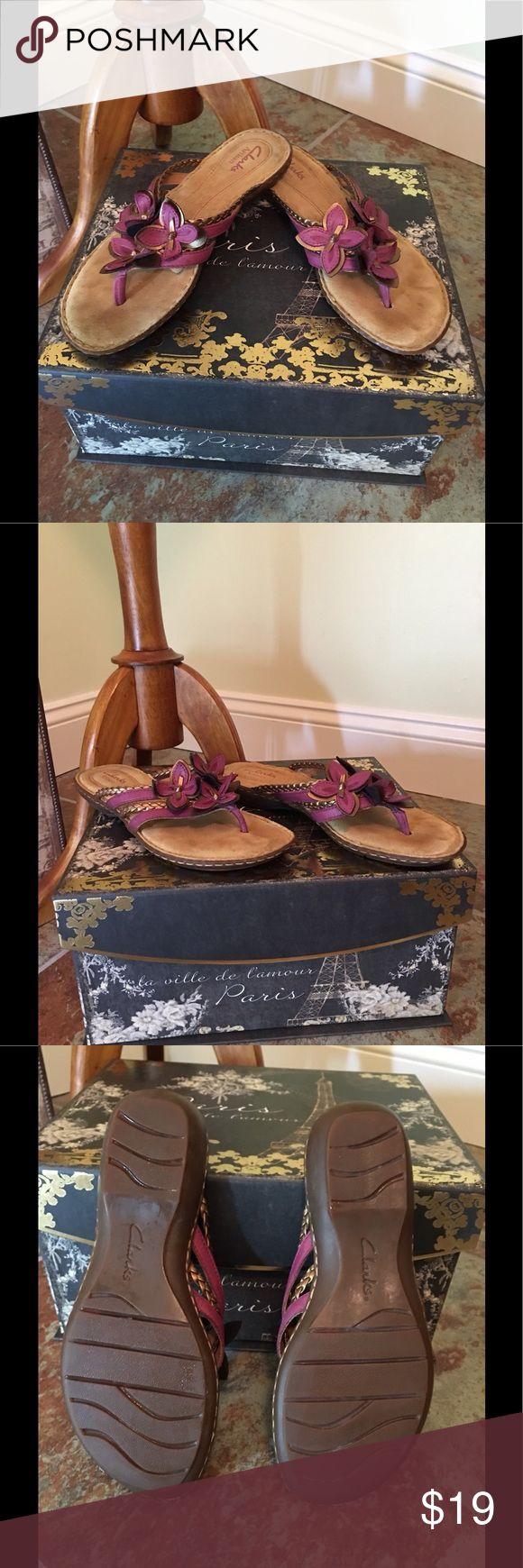 Clarks Artisan purple flower sandal Excellent condition Clarks artisan Purple leather flower sandal. Clarks Shoes Sandals