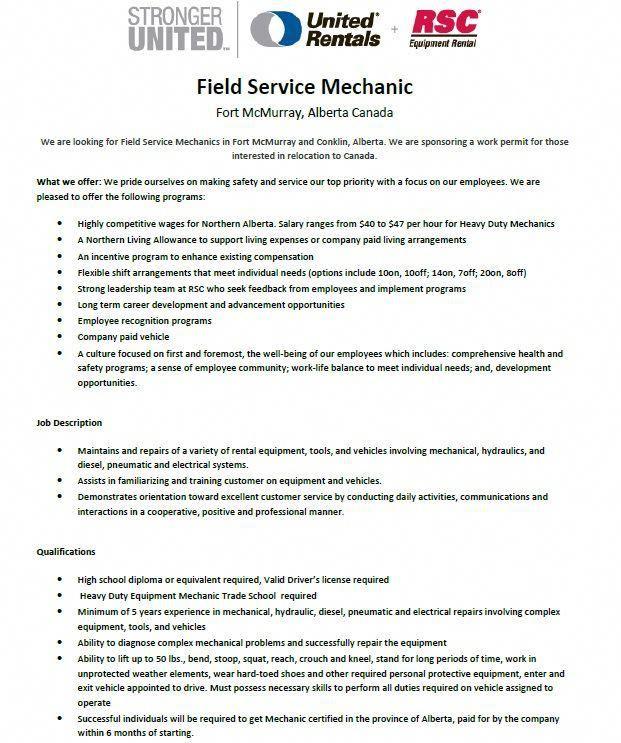 Mechanic Heavy Equipment Construction Diesel Rental Job Hiring Jobs International Relocation Canada Alberta Technician Mechanic Jobs Job Job Shop