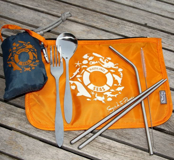 Features:  Blue shopping bag that stuffs into a little pouch when not in use.Orange zippered bag that contains stainless steel cutlery including a fork, spoon, chopsticks a straw and cleaning brush.All fabric is proudly made by Chicobag from recycled plastic water bottles.  All of this nifty little gift set ensures you are cutting down on single use plastic!Thank you for supporting Plastic Free Seas with this purchase.